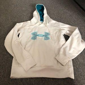 Under Armour White Logo Hoodie Sweatshirt M